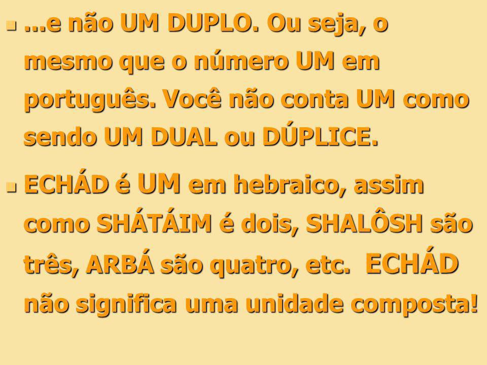 ...e não UM DUPLO. Ou seja, o mesmo que o número UM em português. Você não conta UM como sendo UM DUAL ou DÚPLICE....e não UM DUPLO. Ou seja, o mesmo