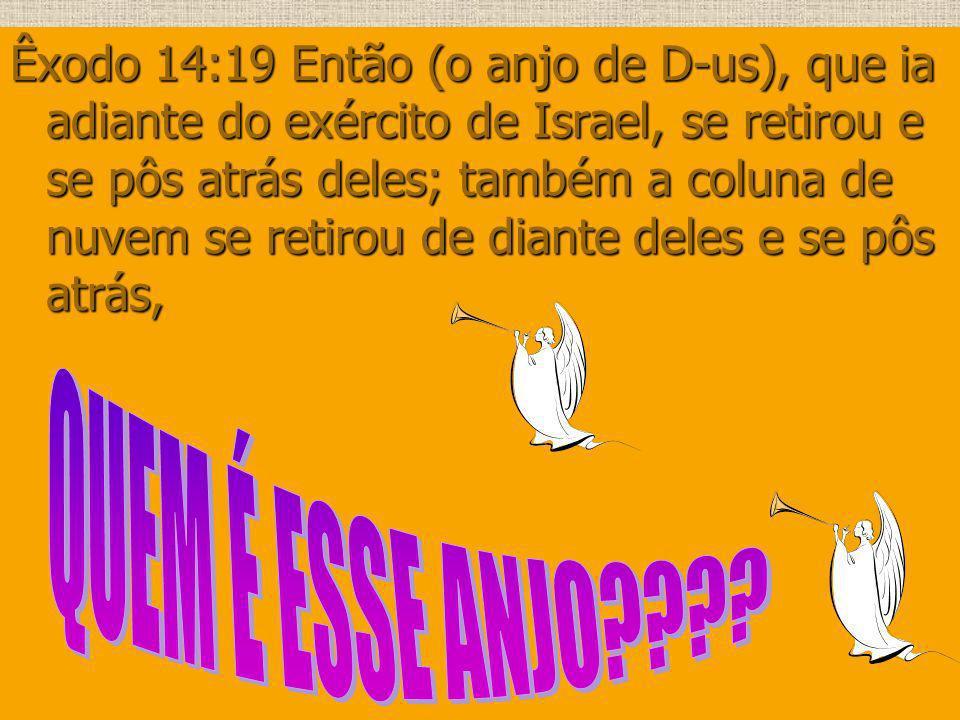 Êxodo 14:19 Então (o anjo de D-us), que ia adiante do exército de Israel, se retirou e se pôs atrás deles; também a coluna de nuvem se retirou de dian