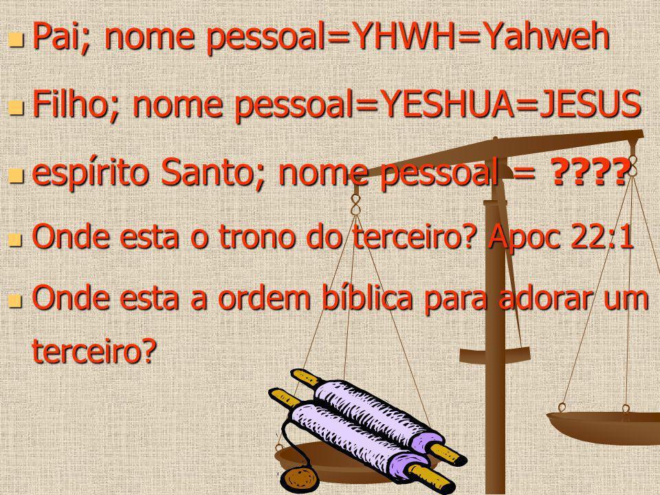 Pai; nome pessoal=YHWH=Yahweh Pai; nome pessoal=YHWH=Yahweh Filho; nome pessoal=YESHUA=JESUS Filho; nome pessoal=YESHUA=JESUS espírito Santo; nome pes