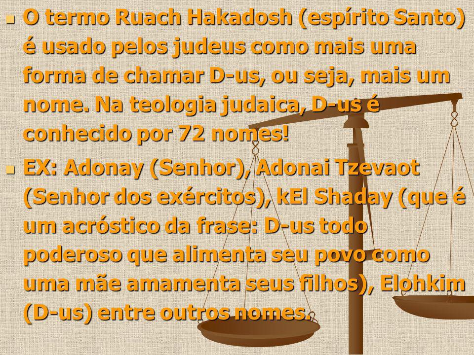 O termo Ruach Hakadosh (espírito Santo) é usado pelos judeus como mais uma forma de chamar D-us, ou seja, mais um nome. Na teologia judaica, D-us é co
