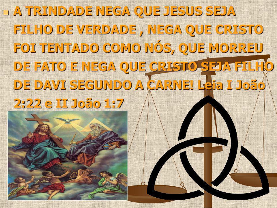 A TRINDADE NEGA QUE JESUS SEJA FILHO DE VERDADE, NEGA QUE CRISTO FOI TENTADO COMO NÓS, QUE MORREU DE FATO E NEGA QUE CRISTO SEJA FILHO DE DAVI SEGUNDO