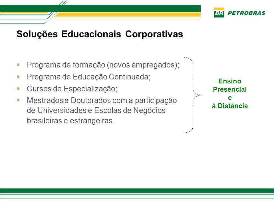 Soluções Educacionais Corporativas Programa de formação (novos empregados); Programa de Educação Continuada; Cursos de Especialização; Mestrados e Dou