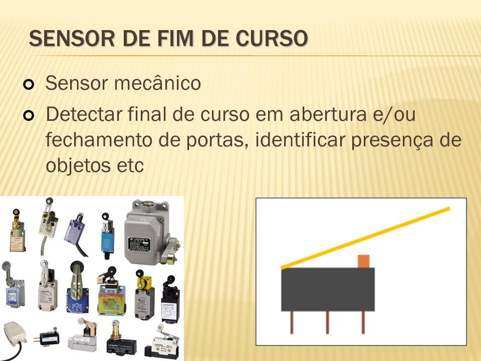 SENSOR DE FIM DE CURSO Sensor mecânico Detectar final de curso em abertura e/ou fechamento de portas, identificar presença de objetos etc