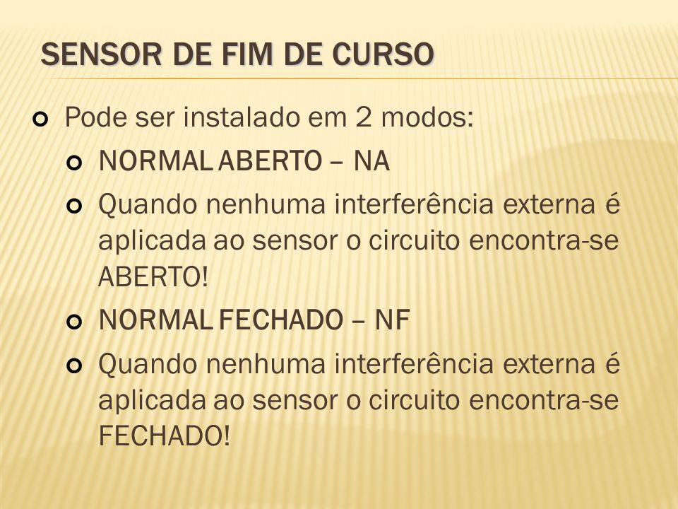 SENSOR DE FIM DE CURSO Pode ser instalado em 2 modos: NORMAL ABERTO – NA Quando nenhuma interferência externa é aplicada ao sensor o circuito encontra