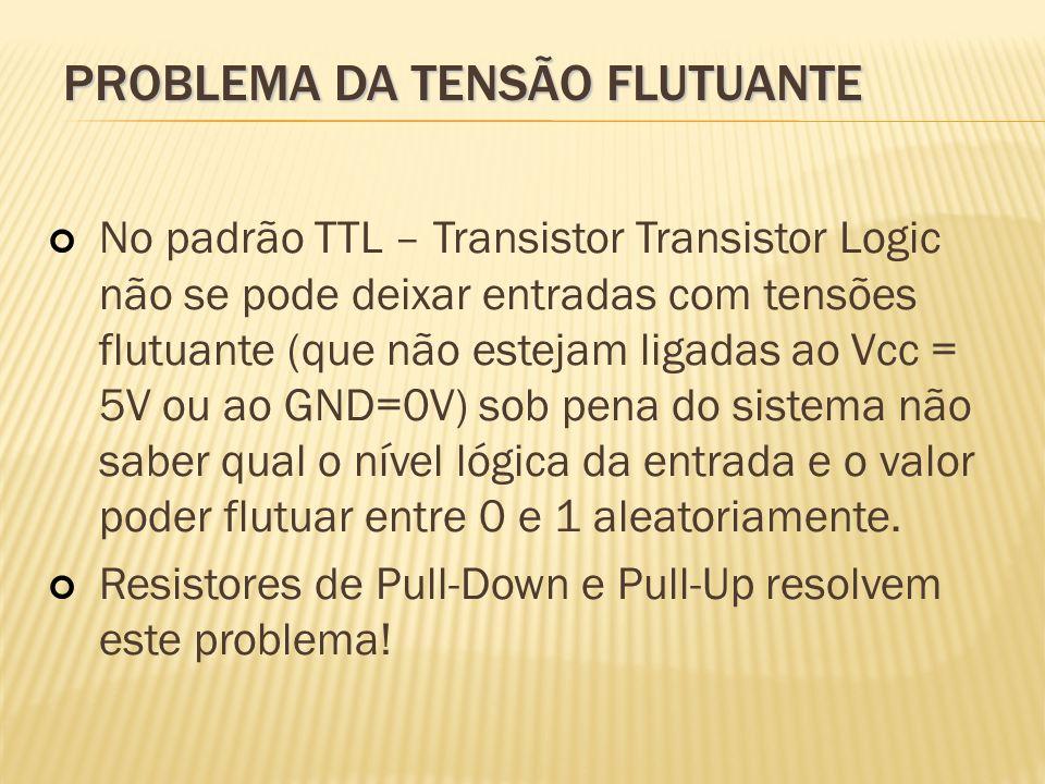 PROBLEMA DA TENSÃO FLUTUANTE No padrão TTL – Transistor Transistor Logic não se pode deixar entradas com tensões flutuante (que não estejam ligadas ao
