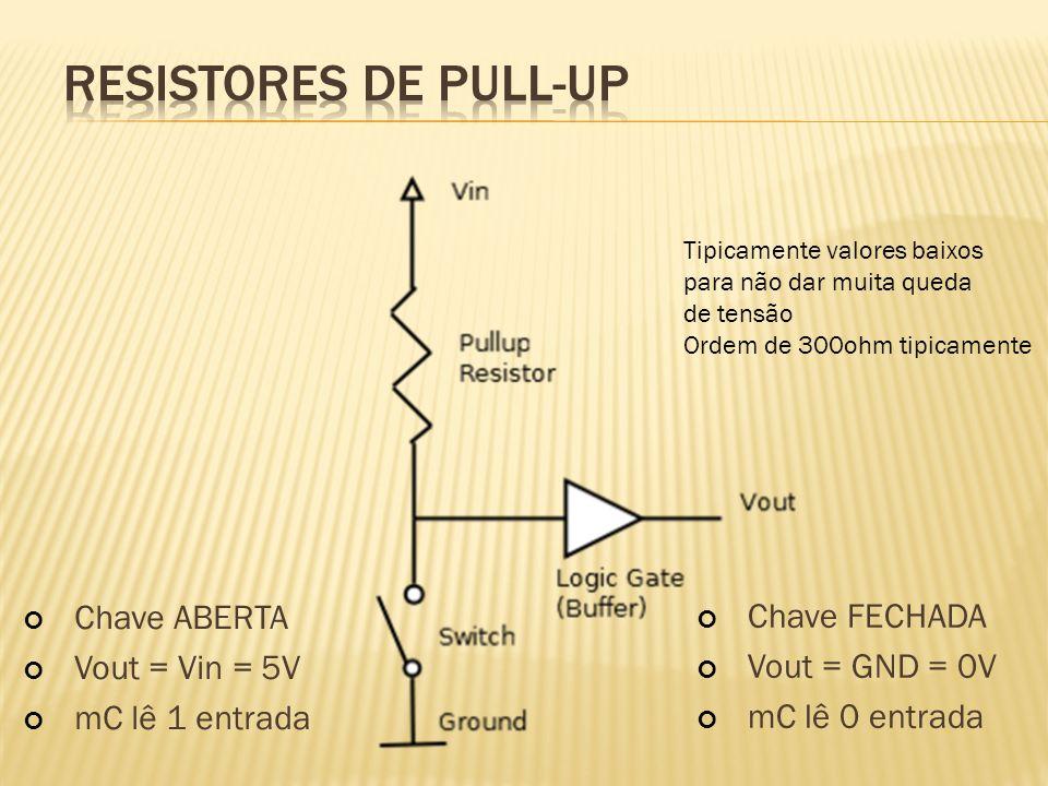 Chave ABERTA Vout = Vin = 5V mC lê 1 entrada Chave FECHADA Vout = GND = 0V mC lê 0 entrada Tipicamente valores baixos para não dar muita queda de tens
