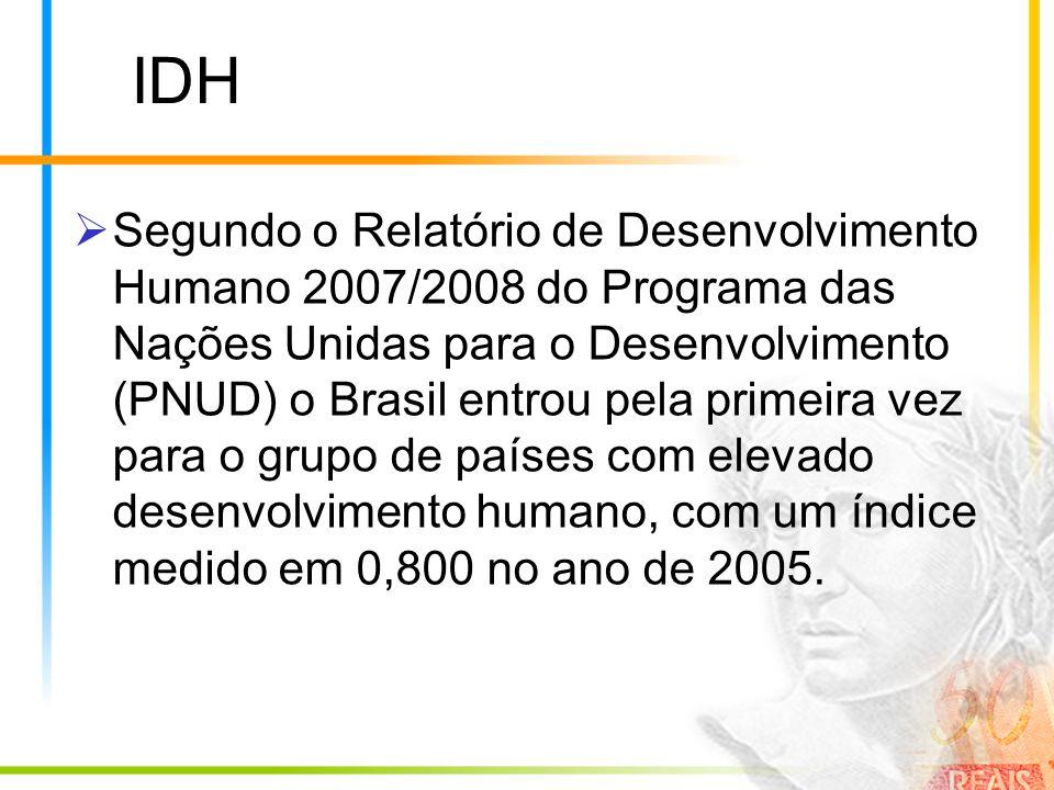 IDH Segundo o Relatório de Desenvolvimento Humano 2007/2008 do Programa das Nações Unidas para o Desenvolvimento (PNUD) o Brasil entrou pela primeira