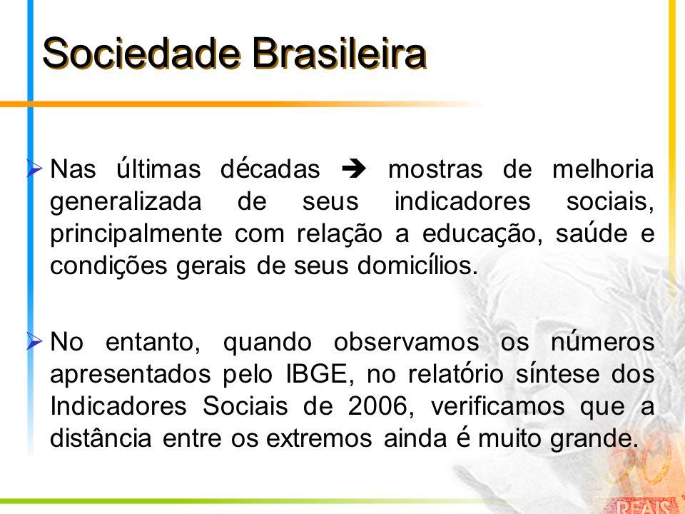 Sociedade Brasileira Nas ú ltimas d é cadas mostras de melhoria generalizada de seus indicadores sociais, principalmente com rela ç ão a educa ç ão, s
