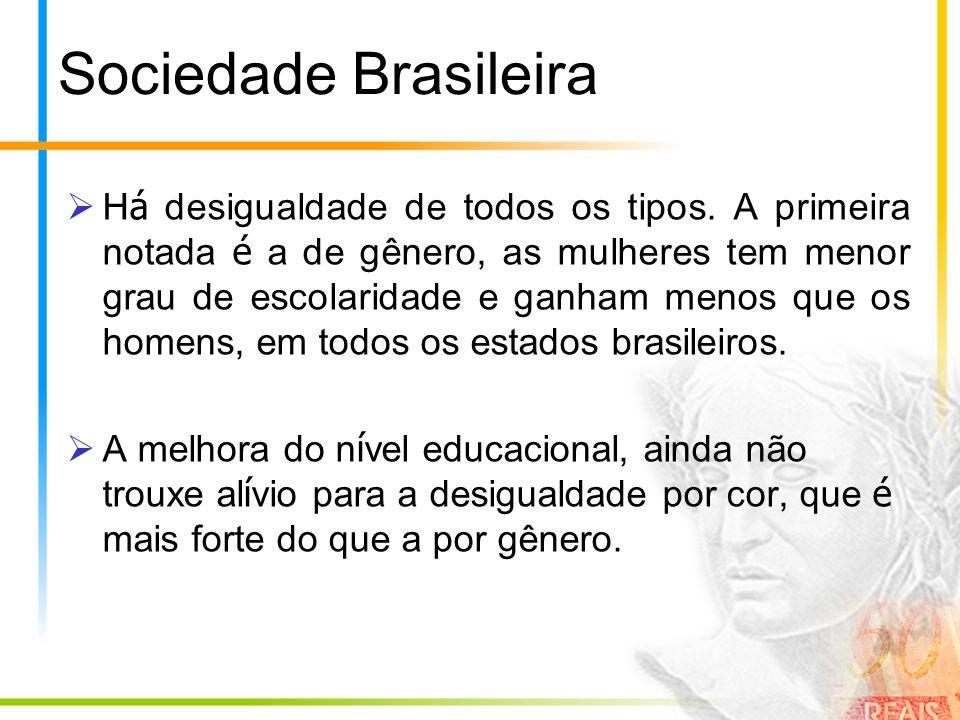 Sociedade Brasileira H á desigualdade de todos os tipos. A primeira notada é a de gênero, as mulheres tem menor grau de escolaridade e ganham menos qu