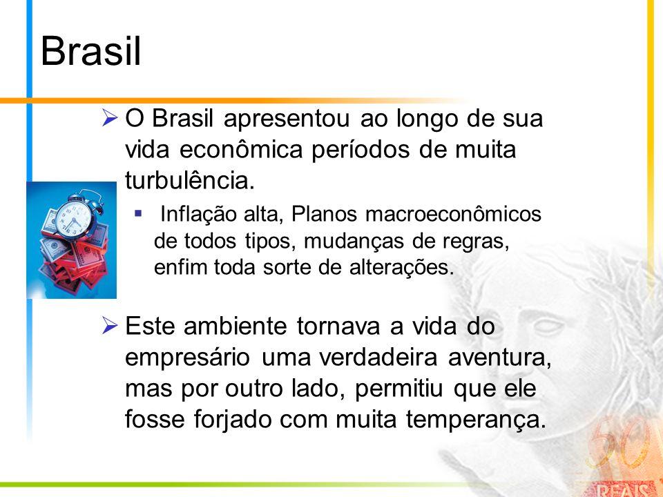 Brasil O Brasil apresentou ao longo de sua vida econômica períodos de muita turbulência. Inflação alta, Planos macroeconômicos de todos tipos, mudança