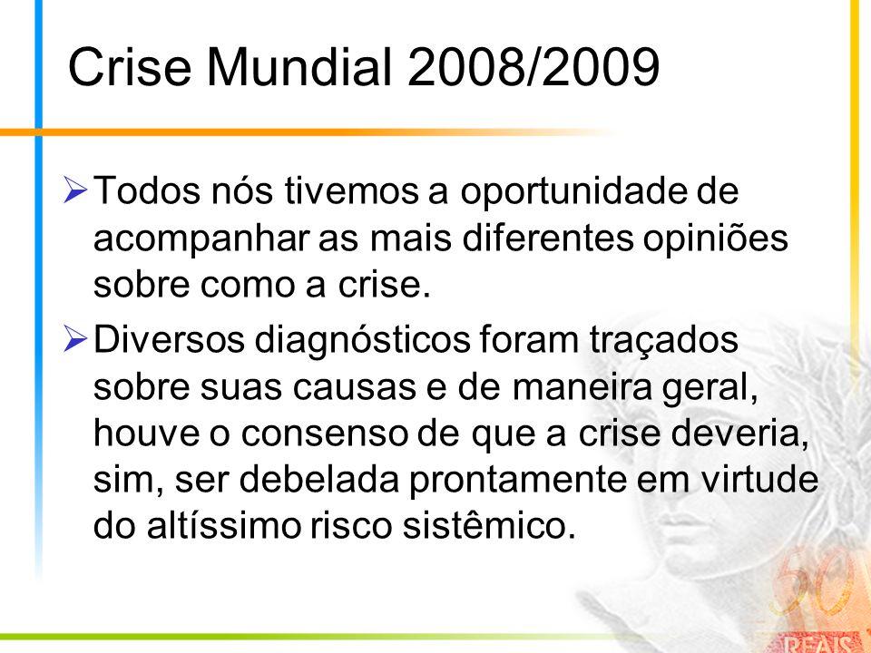 Crise Mundial 2008/2009 Todos nós tivemos a oportunidade de acompanhar as mais diferentes opiniões sobre como a crise. Diversos diagnósticos foram tra