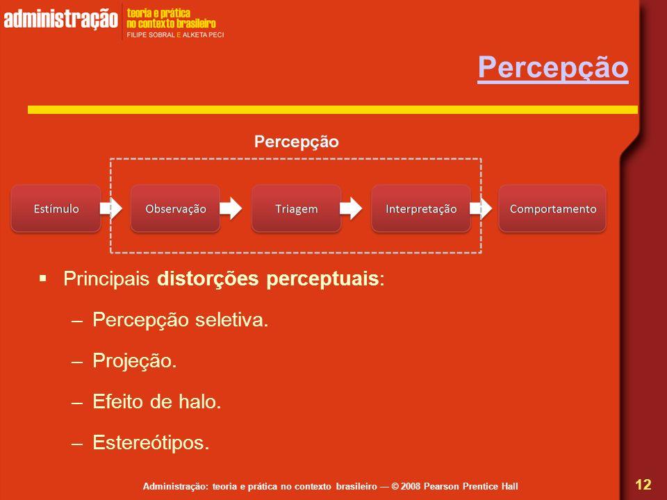 Administração: teoria e prática no contexto brasileiro © 2008 Pearson Prentice Hall Percepção 12 Principais distorções perceptuais: –Percepção seletiv