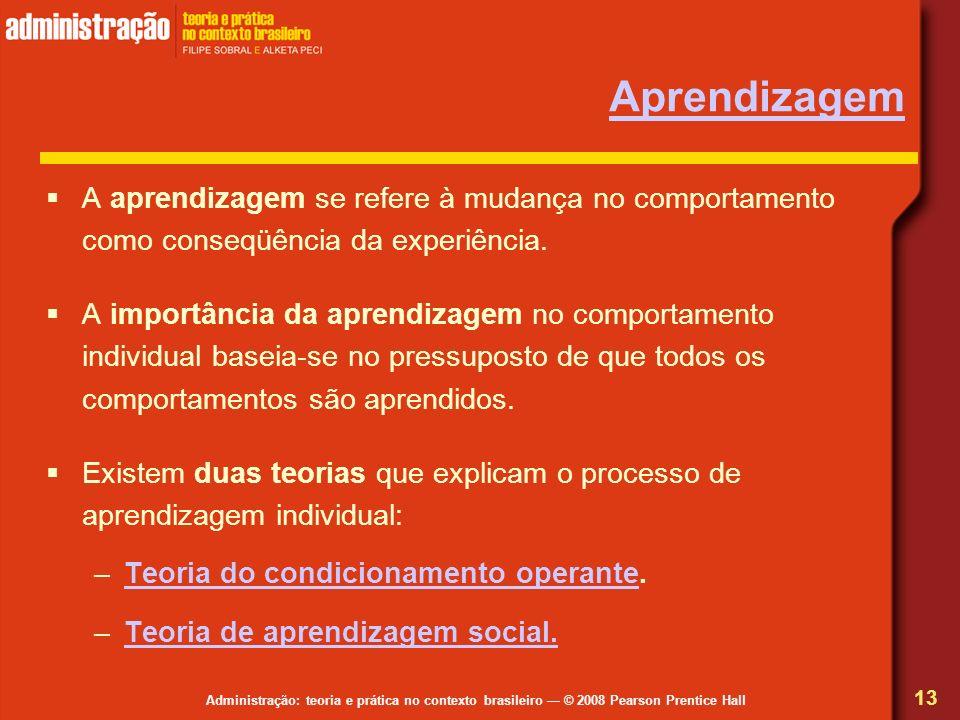 Administração: teoria e prática no contexto brasileiro © 2008 Pearson Prentice Hall Aprendizagem A aprendizagem se refere à mudança no comportamento c