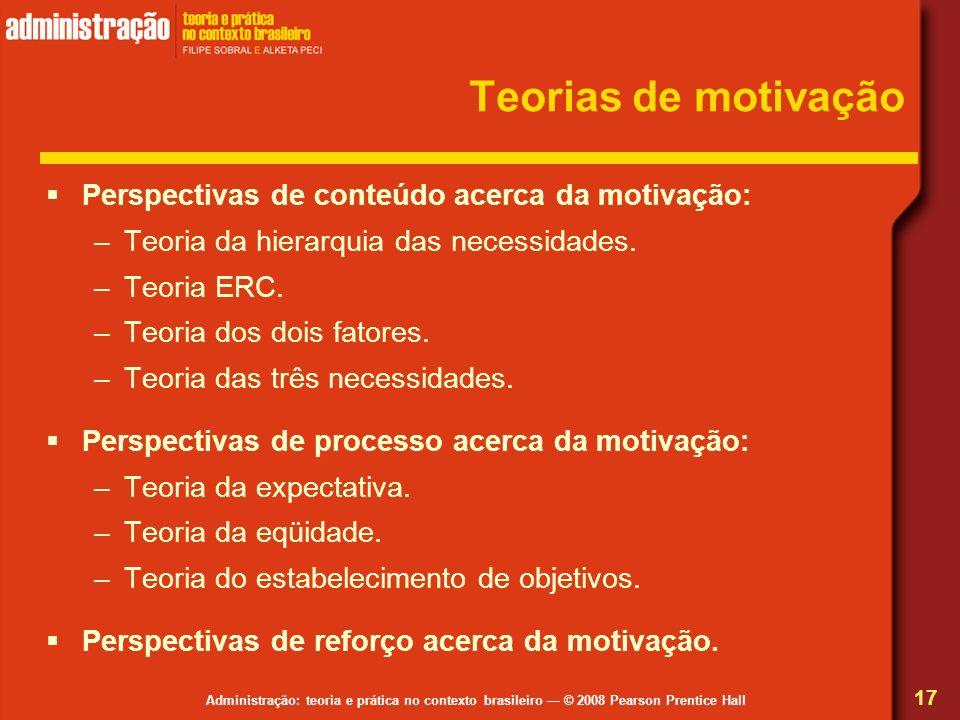 Administração: teoria e prática no contexto brasileiro © 2008 Pearson Prentice Hall Teorias de motivação Perspectivas de conteúdo acerca da motivação:
