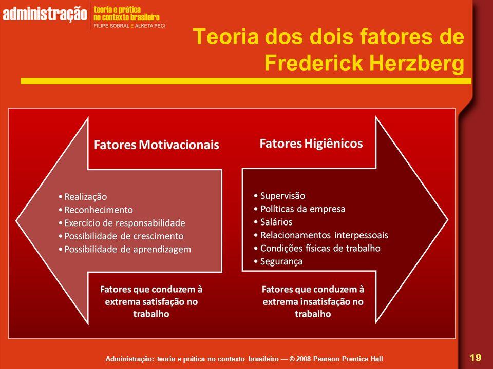 Administração: teoria e prática no contexto brasileiro © 2008 Pearson Prentice Hall Teoria dos dois fatores de Frederick Herzberg 19