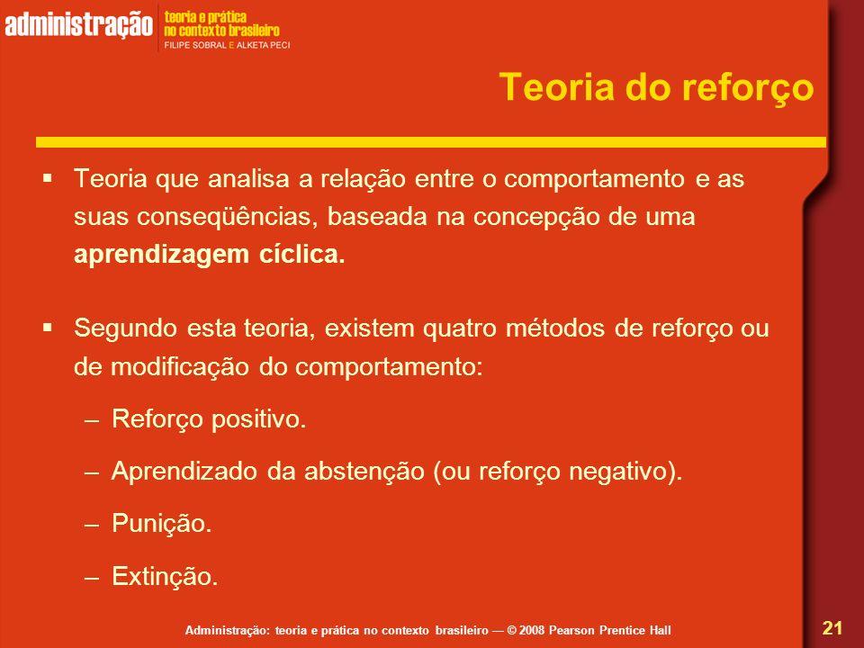 Administração: teoria e prática no contexto brasileiro © 2008 Pearson Prentice Hall Teoria do reforço Teoria que analisa a relação entre o comportamen