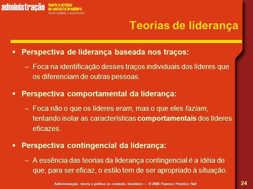 Administração: teoria e prática no contexto brasileiro © 2008 Pearson Prentice Hall Teorias de liderança Perspectiva de liderança baseada nos traços: