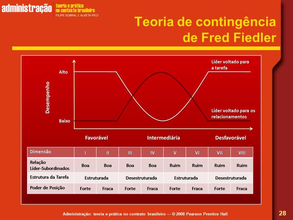 Administração: teoria e prática no contexto brasileiro © 2008 Pearson Prentice Hall Teoria de contingência de Fred Fiedler 28