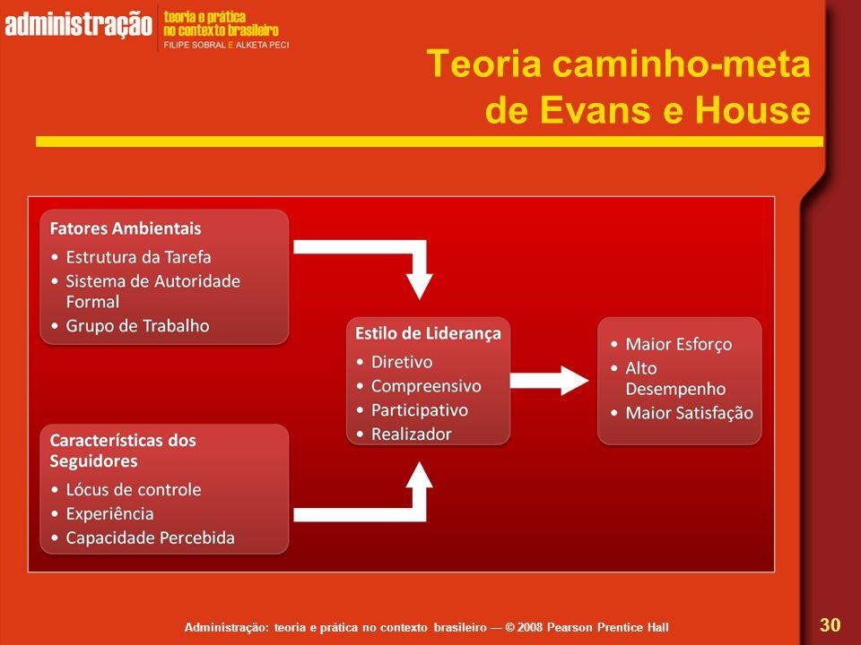 Administração: teoria e prática no contexto brasileiro © 2008 Pearson Prentice Hall Teoria caminho-meta de Evans e House 30
