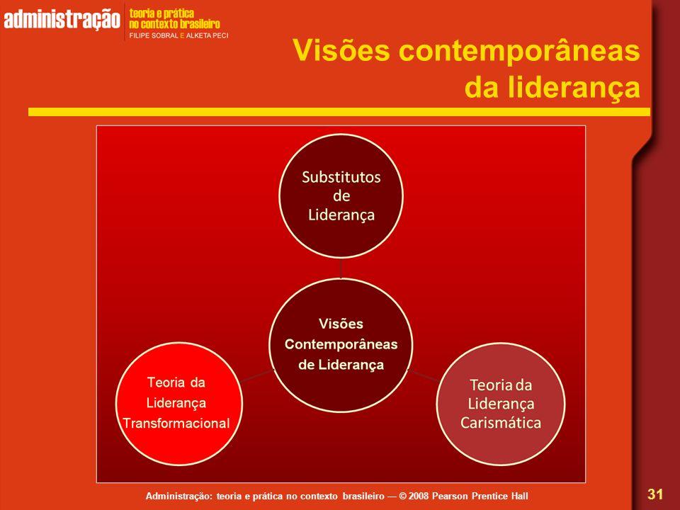 Administração: teoria e prática no contexto brasileiro © 2008 Pearson Prentice Hall Visões contemporâneas da liderança 31