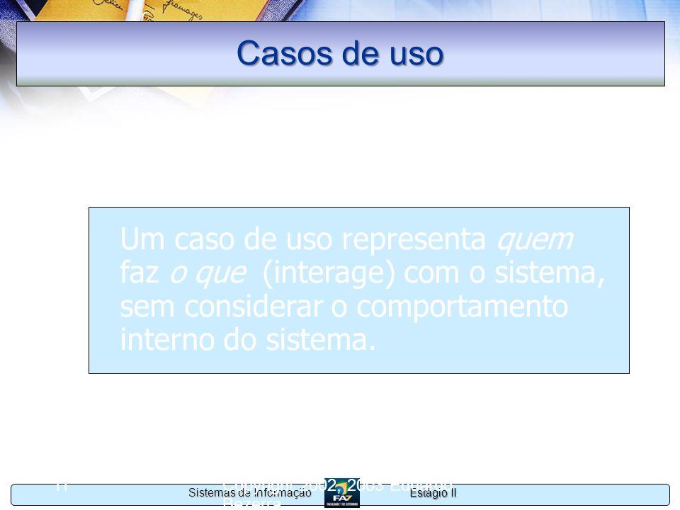 Estágio II Sistemas de Informação Copyright 2002, 2003 Eduardo Bezerra 11 Casos de uso Um caso de uso representa quem faz o que (interage) com o siste