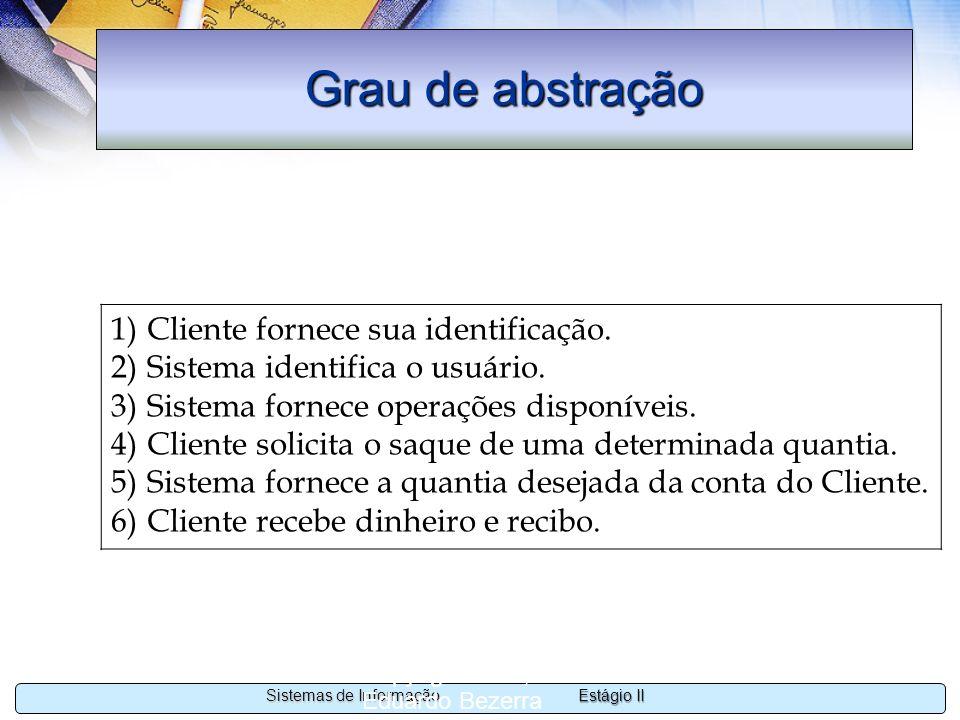 Estágio II Sistemas de Informação Copyright 2002, 2003 Eduardo Bezerra 18 Grau de abstração 1)Cliente fornece sua identificação. 2)Sistema identifica