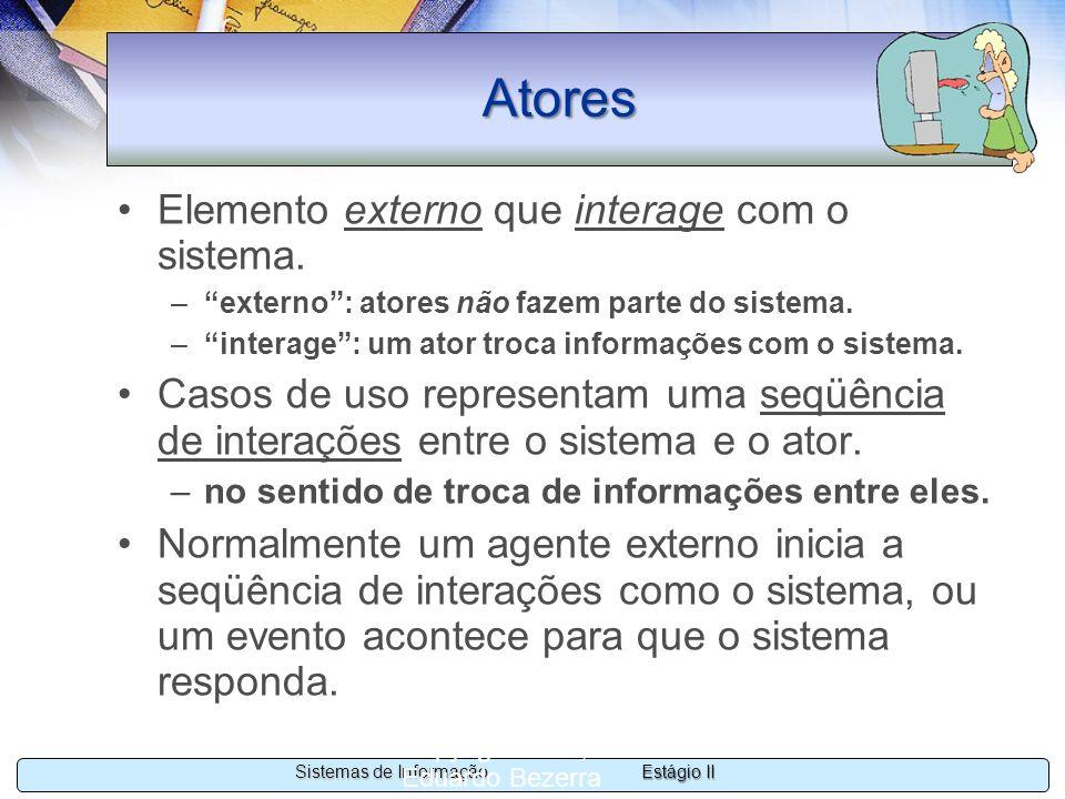 Estágio II Sistemas de Informação Copyright 2002, 2003 Eduardo Bezerra 21 Atores Elemento externo que interage com o sistema. –externo: atores não faz