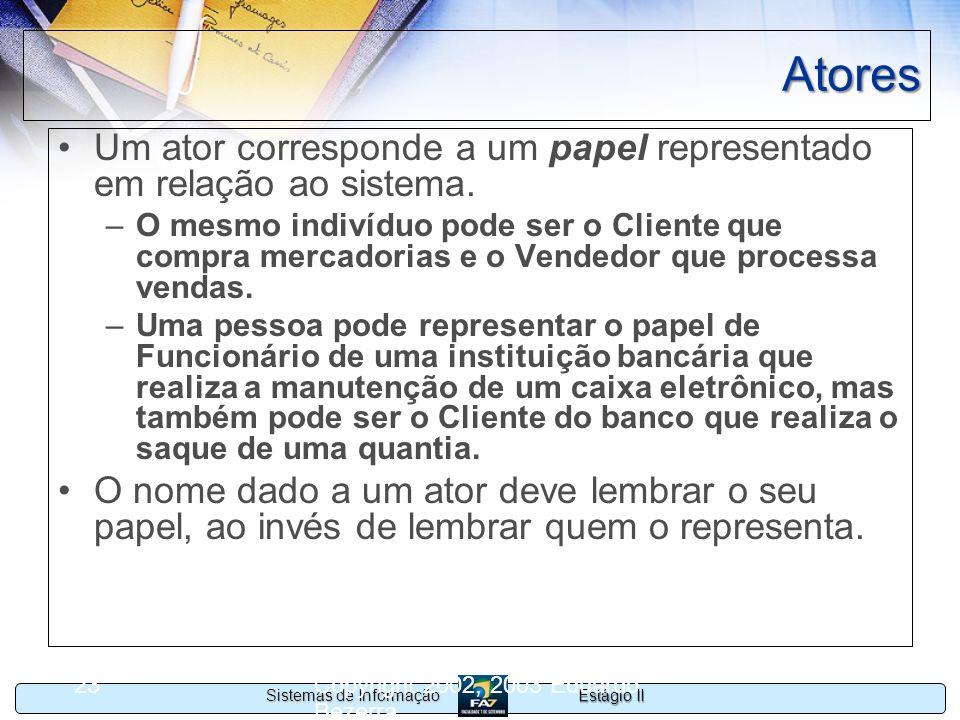 Estágio II Sistemas de Informação Copyright 2002, 2003 Eduardo Bezerra 23 Atores Um ator corresponde a um papel representado em relação ao sistema. –O