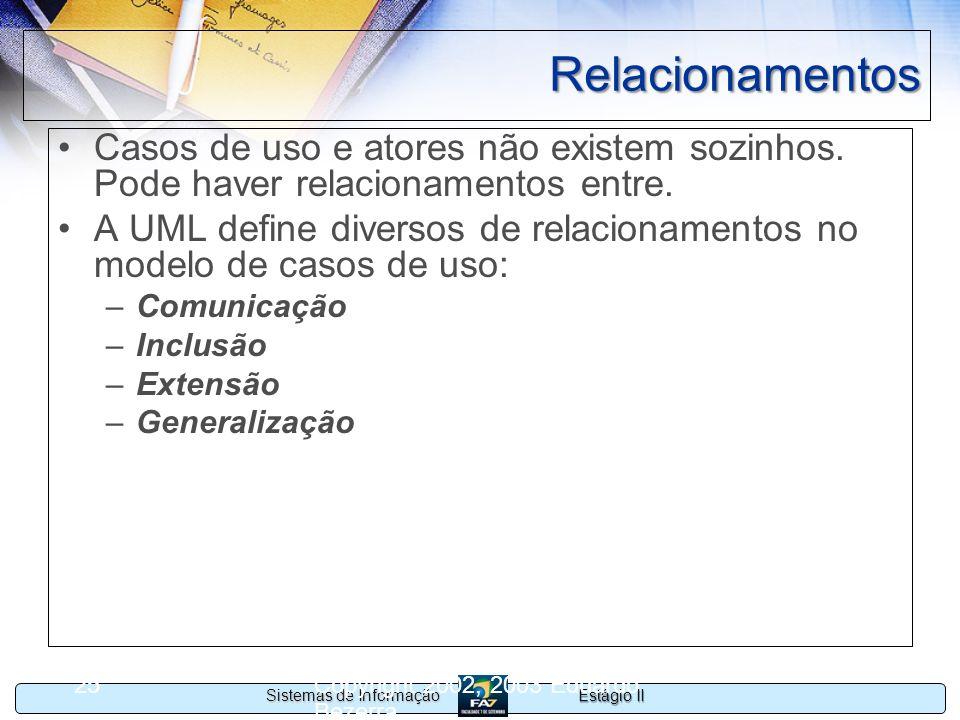 Estágio II Sistemas de Informação Copyright 2002, 2003 Eduardo Bezerra 25 Relacionamentos Casos de uso e atores não existem sozinhos. Pode haver relac