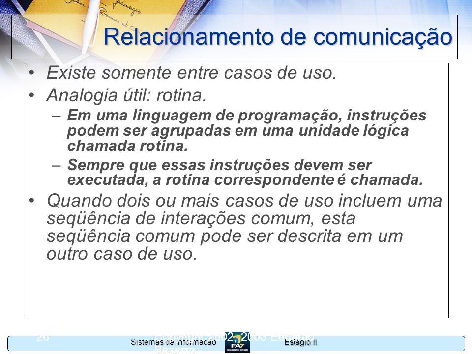 Estágio II Sistemas de Informação Copyright 2002, 2003 Eduardo Bezerra 26 Relacionamento de comunicação Existe somente entre casos de uso. Analogia út