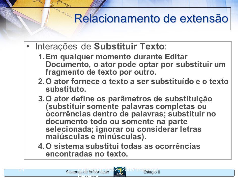 Estágio II Sistemas de Informação Copyright 2002, 2003 Eduardo Bezerra 31 Relacionamento de extensão Interações de Substituir Texto: 1.Em qualquer mom