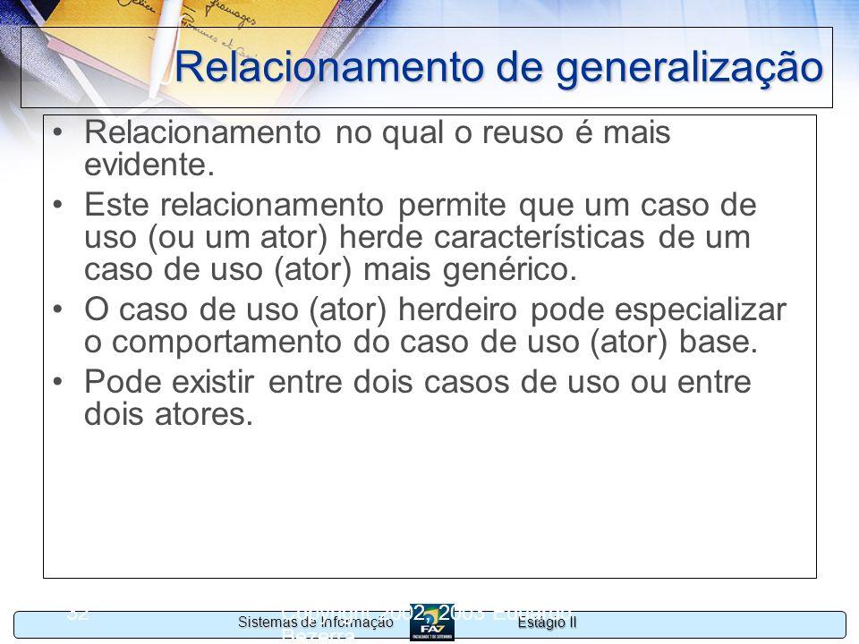 Estágio II Sistemas de Informação Copyright 2002, 2003 Eduardo Bezerra 32 Relacionamento de generalização Relacionamento no qual o reuso é mais eviden