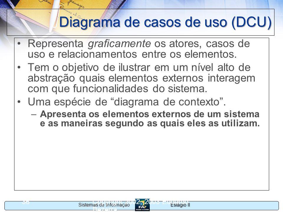 Estágio II Sistemas de Informação Copyright 2002, 2003 Eduardo Bezerra 36 Diagrama de casos de uso (DCU) Representa graficamente os atores, casos de u
