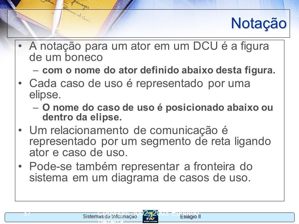 Estágio II Sistemas de Informação Copyright 2002, 2003 Eduardo Bezerra 37 Notação A notação para um ator em um DCU é a figura de um boneco –com o nome