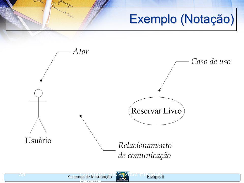 Estágio II Sistemas de Informação Copyright 2002, 2003 Eduardo Bezerra 38 Exemplo (Notação)