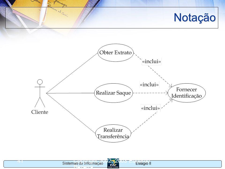 Estágio II Sistemas de Informação Copyright 2002, 2003 Eduardo Bezerra 41 Notação