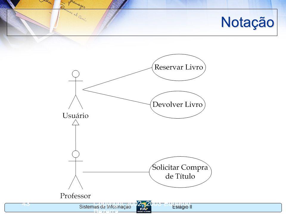 Estágio II Sistemas de Informação Copyright 2002, 2003 Eduardo Bezerra 43 Notação