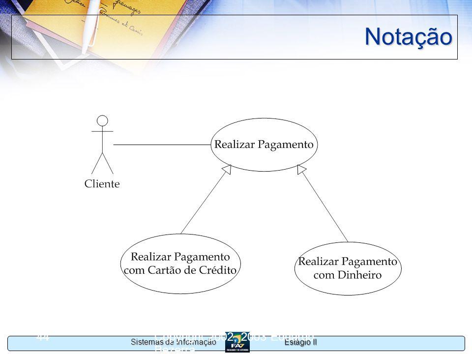 Estágio II Sistemas de Informação Copyright 2002, 2003 Eduardo Bezerra 44 Notação