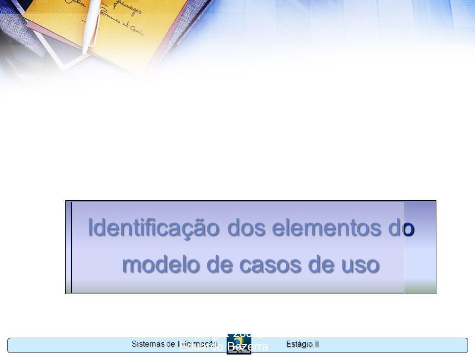 Estágio II Sistemas de Informação Copyright 2002, 2003 Eduardo Bezerra 45 Identificação dos elementos do modelo de casos de uso