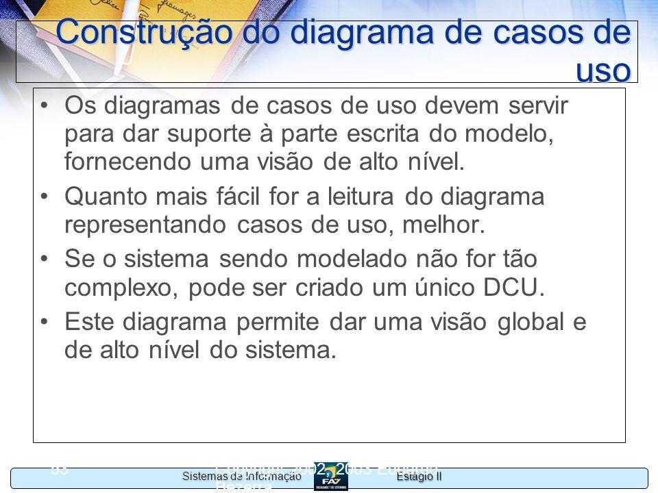 Estágio II Sistemas de Informação Copyright 2002, 2003 Eduardo Bezerra 53 Construção do diagrama de casos de uso Os diagramas de casos de uso devem se