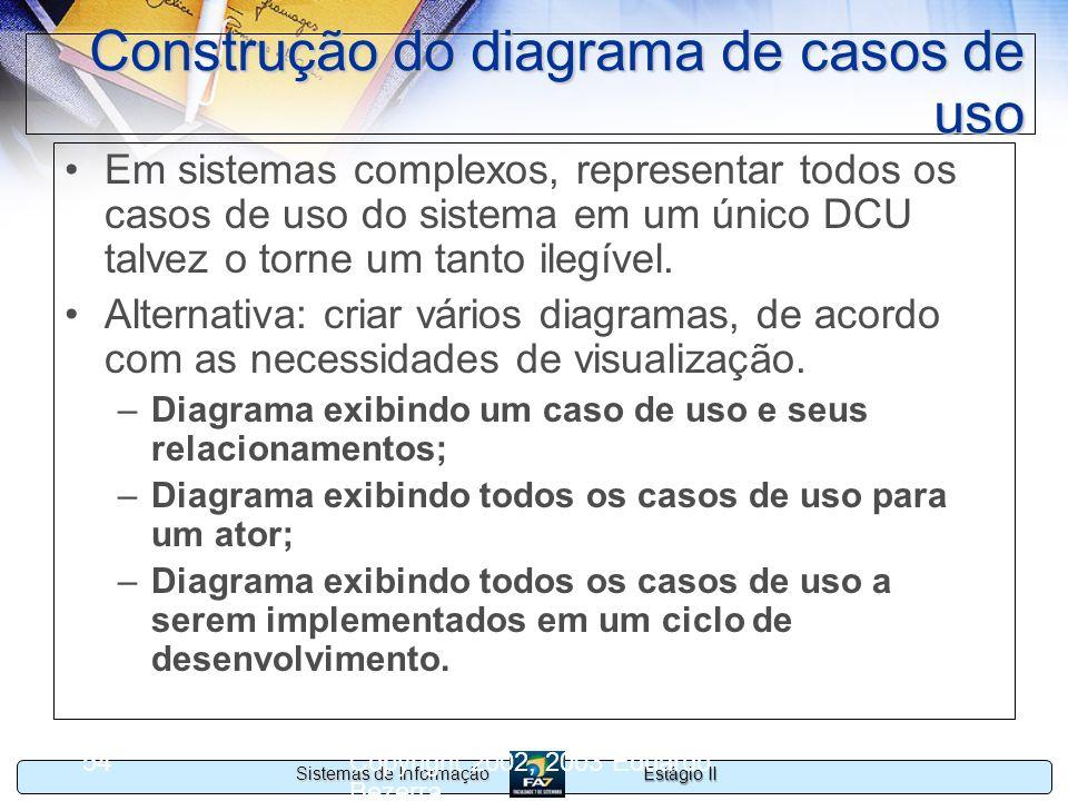 Estágio II Sistemas de Informação Copyright 2002, 2003 Eduardo Bezerra 54 Construção do diagrama de casos de uso Em sistemas complexos, representar to