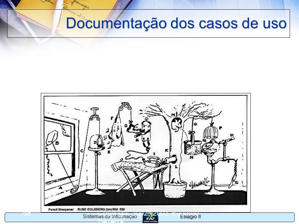Estágio II Sistemas de Informação Copyright 2002, 2003 Eduardo Bezerra 58 Documentação dos casos de uso A descrição do modelo deve ser mantida no níve