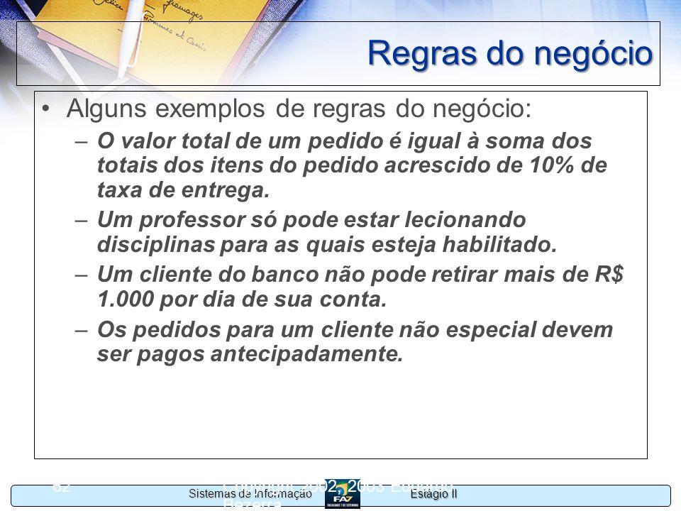 Estágio II Sistemas de Informação Copyright 2002, 2003 Eduardo Bezerra 62 Regras do negócio Alguns exemplos de regras do negócio: –O valor total de um