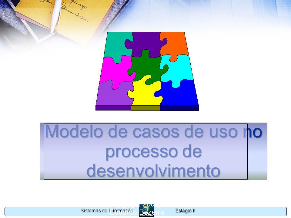 Estágio II Sistemas de Informação Copyright 2002, 2003 Eduardo Bezerra 66 Modelo de casos de uso no processo de desenvolvimento