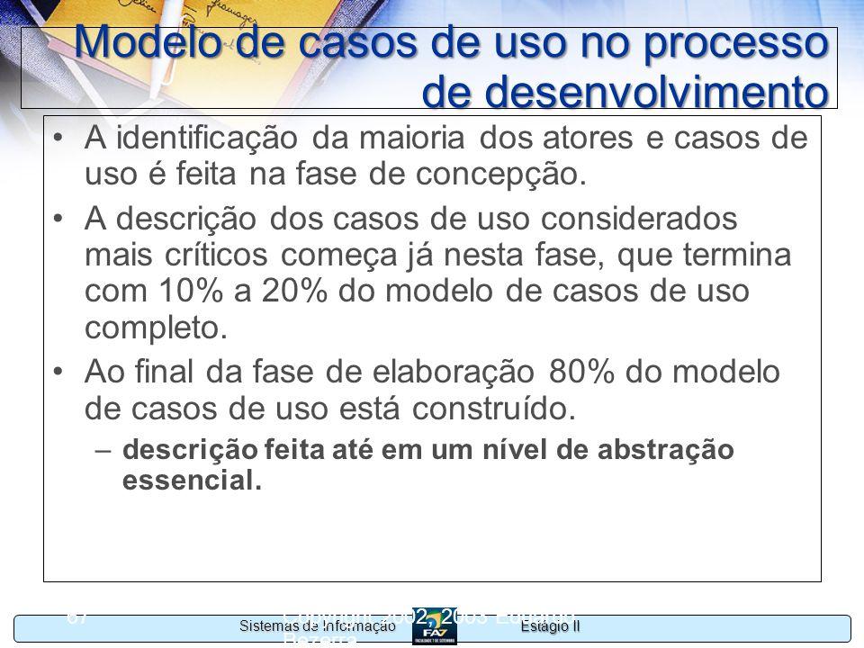 Estágio II Sistemas de Informação Copyright 2002, 2003 Eduardo Bezerra 67 Modelo de casos de uso no processo de desenvolvimento A identificação da mai