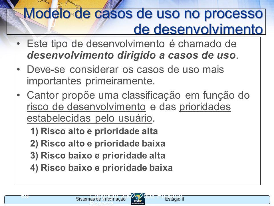 Estágio II Sistemas de Informação Copyright 2002, 2003 Eduardo Bezerra 69 Modelo de casos de uso no processo de desenvolvimento Este tipo de desenvolv