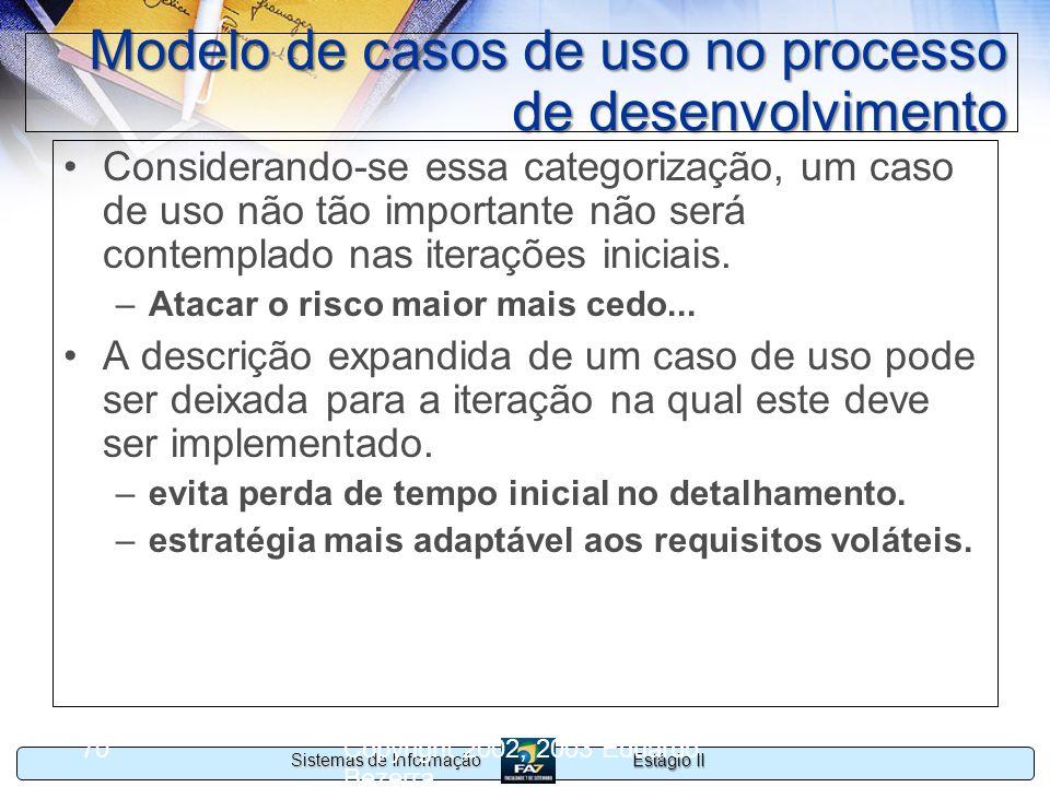 Estágio II Sistemas de Informação Copyright 2002, 2003 Eduardo Bezerra 70 Modelo de casos de uso no processo de desenvolvimento Considerando-se essa c