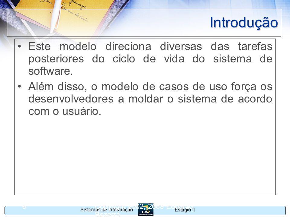 Estágio II Sistemas de Informação Copyright 2002, 2003 Eduardo Bezerra 9 Componentes do modelo O modelo de casos de uso de um sistema é composto de: –Casos de uso –Atores –Relacionamentos entre os elementos anteriores.