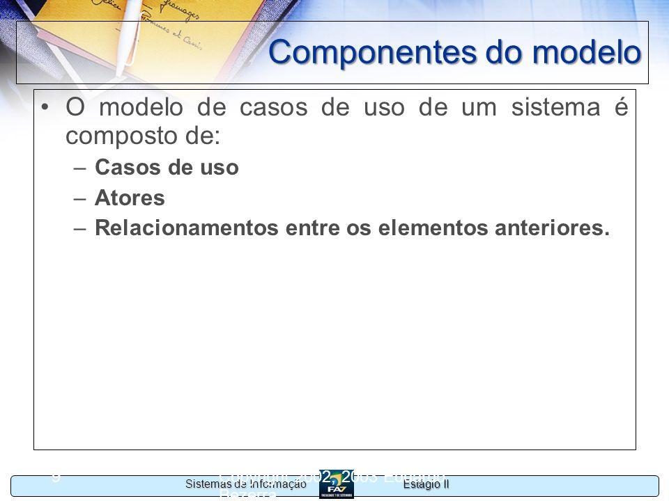 Estágio II Sistemas de Informação Copyright 2002, 2003 Eduardo Bezerra 9 Componentes do modelo O modelo de casos de uso de um sistema é composto de: –