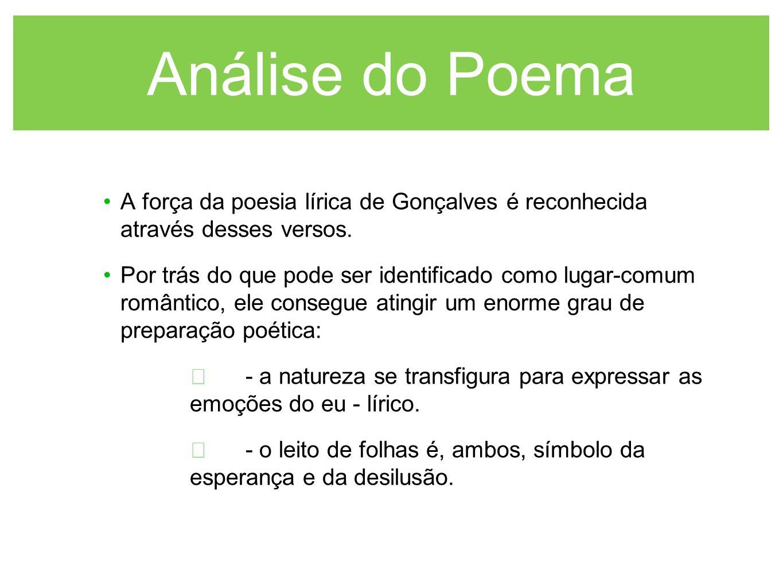 Análise do Poema A força da poesia lírica de Gonçalves é reconhecida através desses versos. Por trás do que pode ser identificado como lugar-comum rom